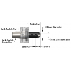 "1-1/2"" End Mill Adapter with Kwik-Switch 400 Shank - 3.03 Projection"